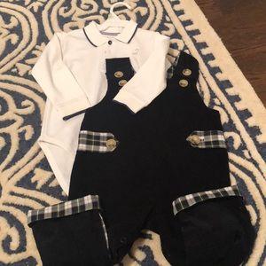 Designer baby boy Coordinating romper with onesie